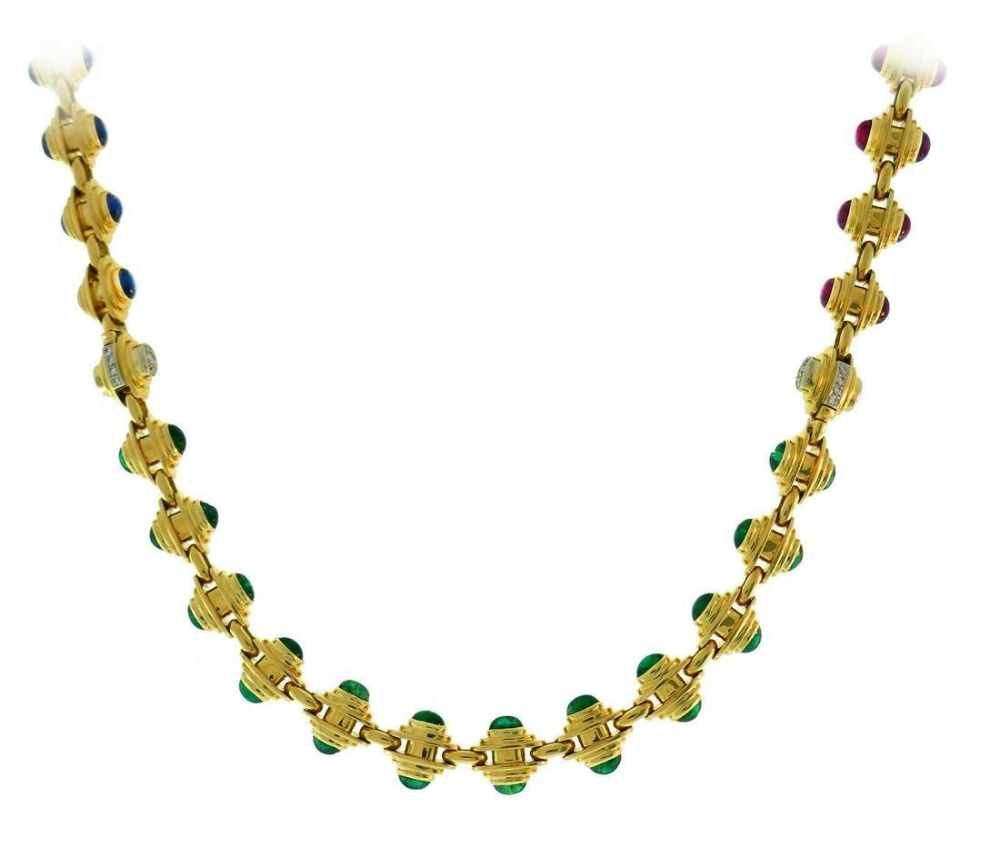 BVLGARI Gold Chain NECKLACE BRACELET Set with Gemstones