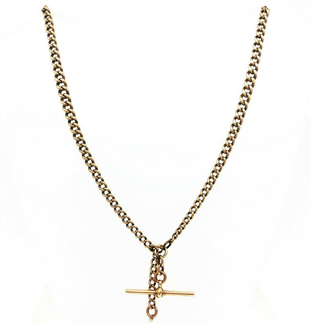 VICTORIAN 9K Rose Gold Curb Link T Bar Watch Chain