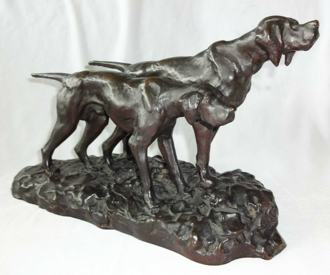 """1930s JAPANESE BRONZE SCULPTURE """"PAIR of HUNTING DOGS"""""""