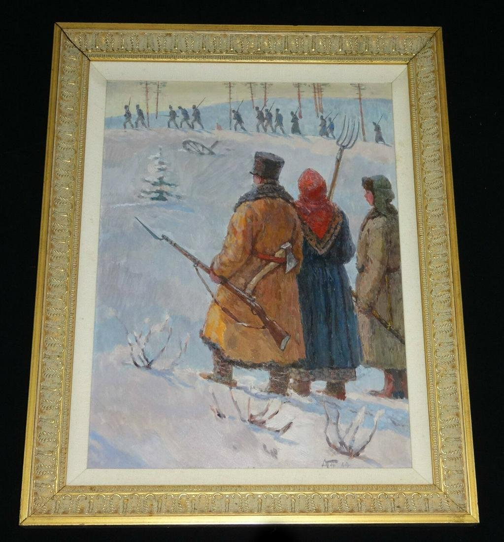 """20CT RUSSIAN OIL on BOARD PAINTING """"TROOPS RETREATING"""""""