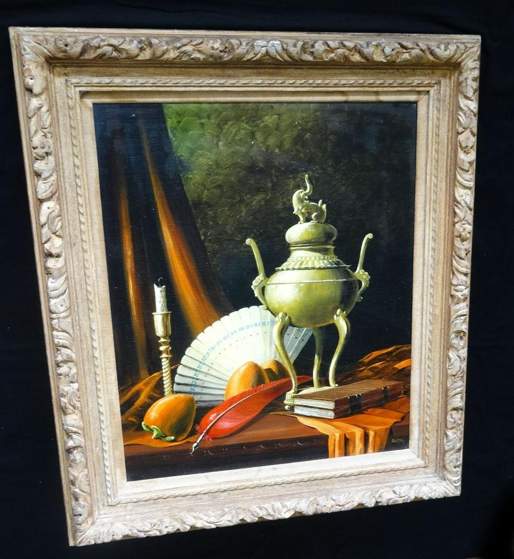 """1960s Chinese themed Still Life Painting """"Incense"""