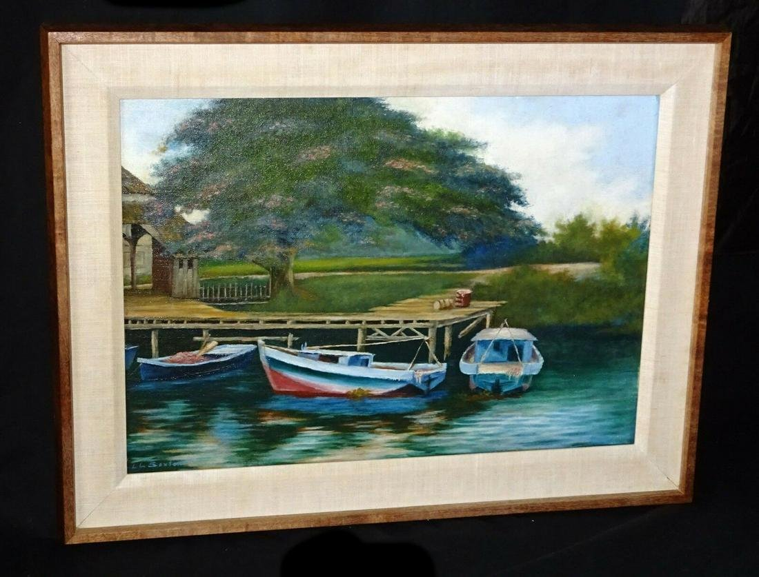 1930s Hawaii Koa Framed Oil Painting Boats on a Dock by