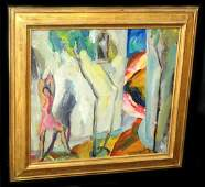 """1917 US New York Oil Painting """"L'essor"""" by Louis George"""