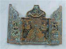 Antique 19c Bronze Enamel Tryptic of St.Nicholas