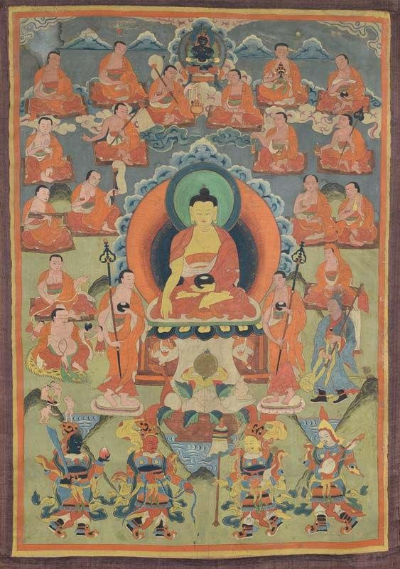 Early 19c Tibetan thangka SHAKYAMUNI with disciples &