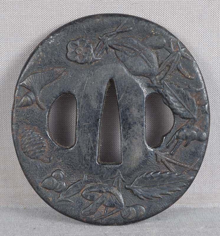 18c Japanese sword TSUBA forest items