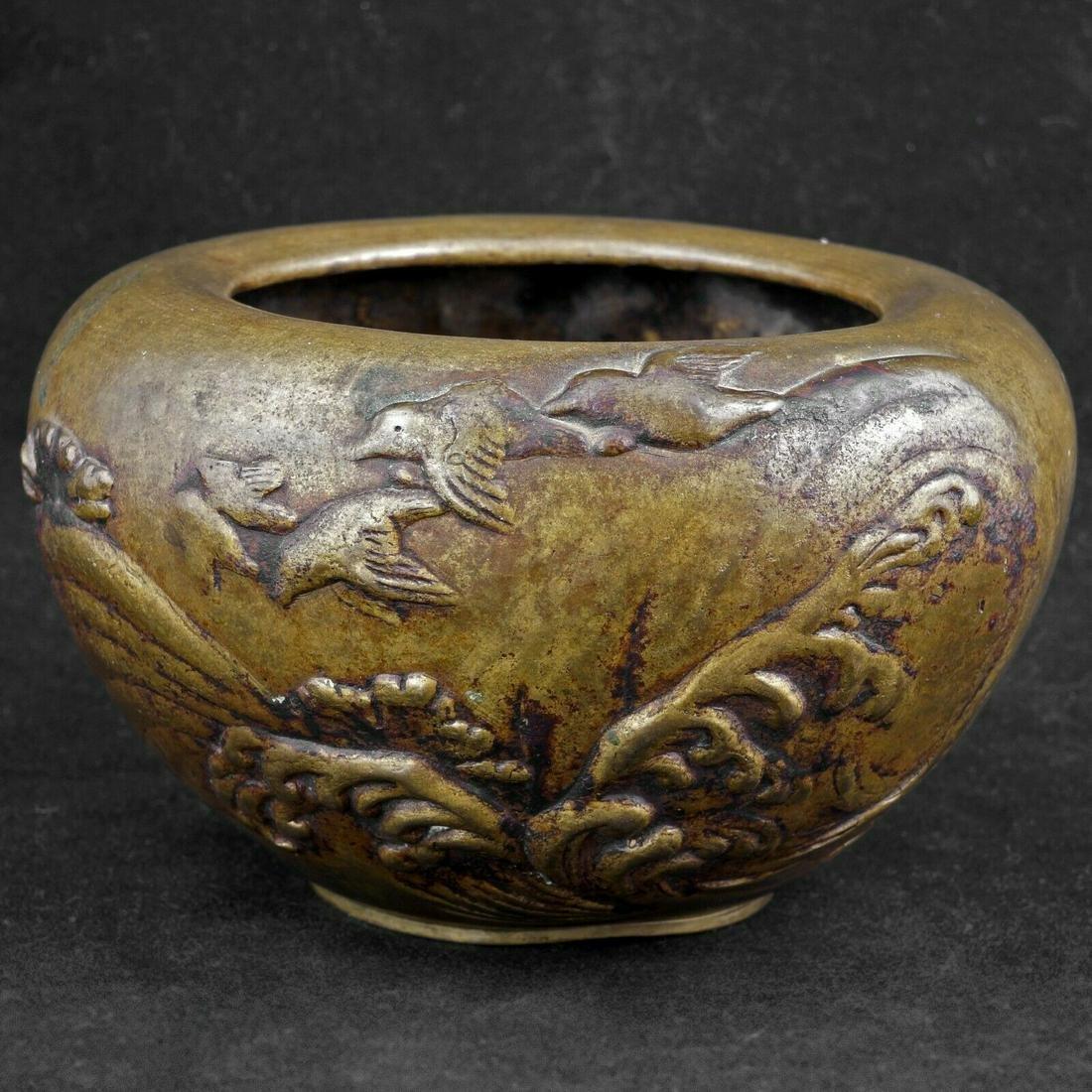 Japanese Early 20th C Bronze Censer Birds Flying