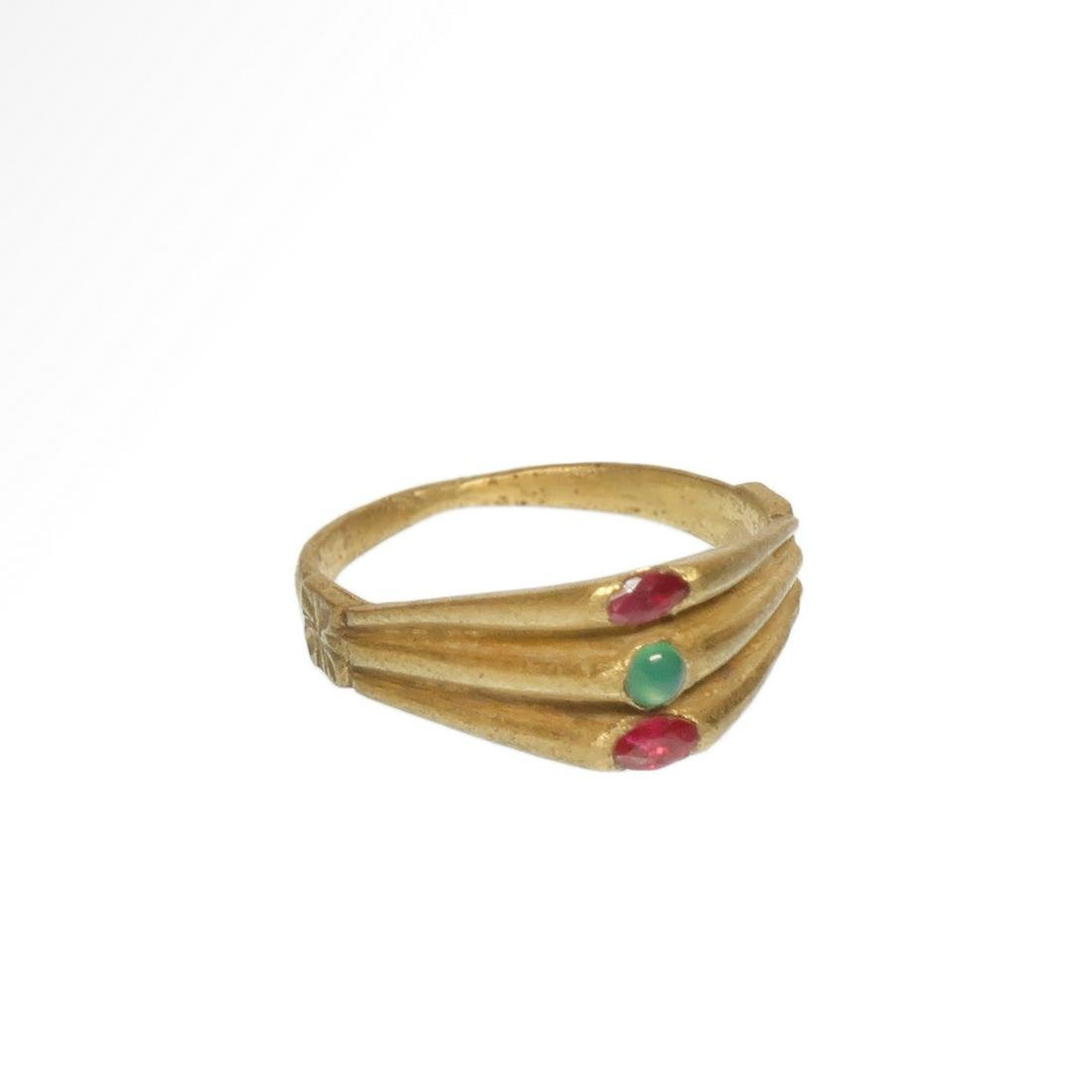 Medieval Triple Gold Ring with Rubies and Emerald,