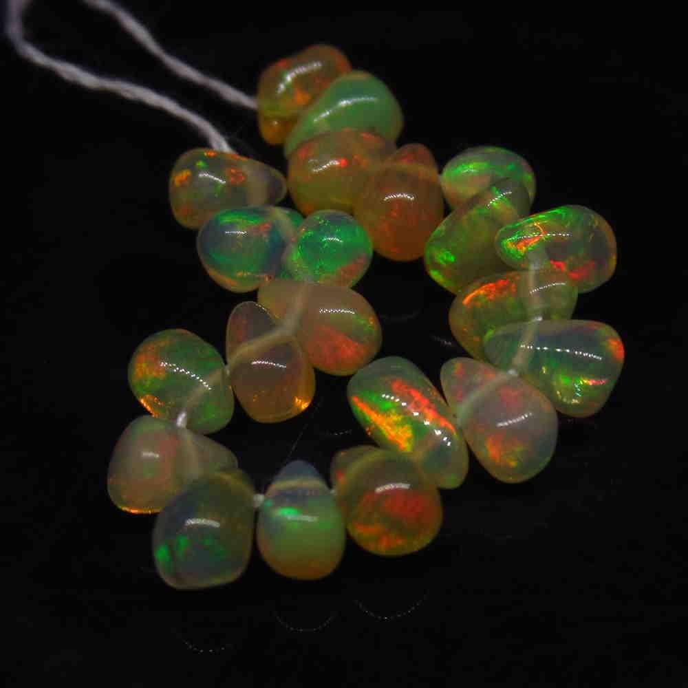 3.43 Ctw Natural 21 Drilled Pear Multi-Color Fire Opal