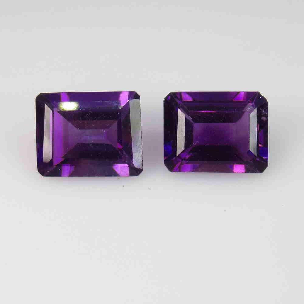 3.82 Ctw Natural Purple Amethyst Octagon Pair