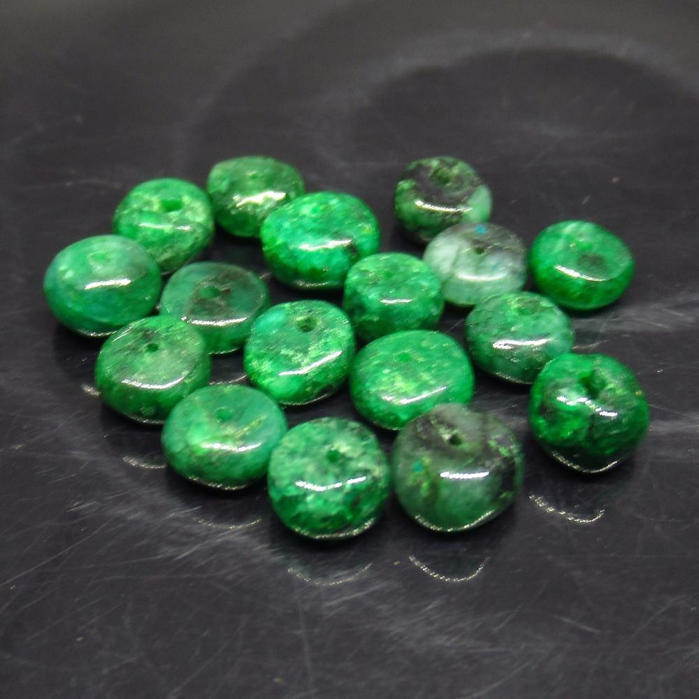 12.25 Ct Natural 19 Zambian Emerald Drilled Round Beads
