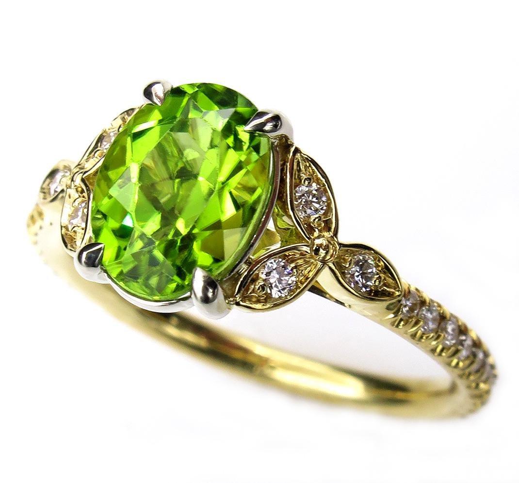 1.82ctw OVAL Cut Natural Peridot Engagement Diamond