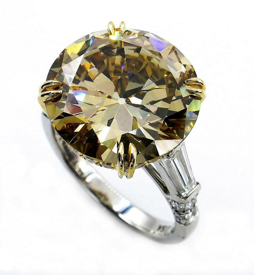 GIA 10.46ctw Natural Fancy Brown Yellow ROUND Cut
