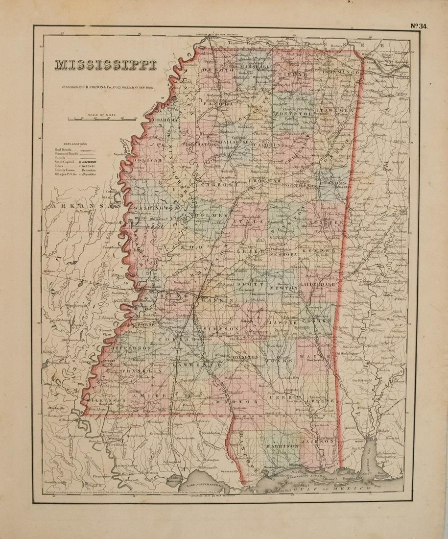 1855 Colton Map of Mississippi -- Mississippi