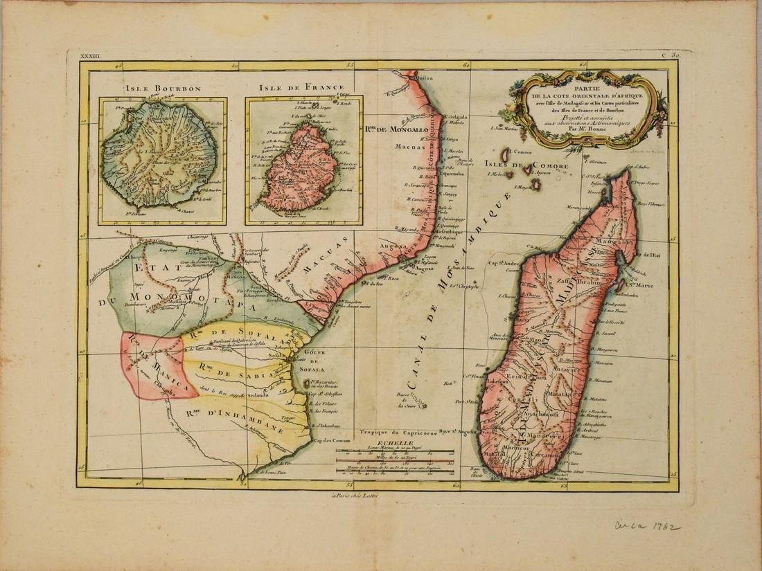 1782 Bonne Map of Eastern Africa and Madagascar --