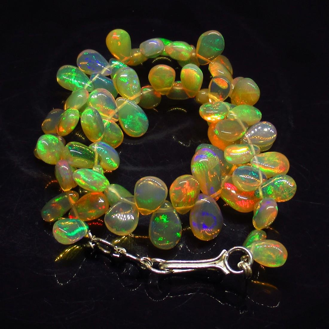 52.23 Ctw 925 Silver 66 Pear Multi-Color Fire Opal