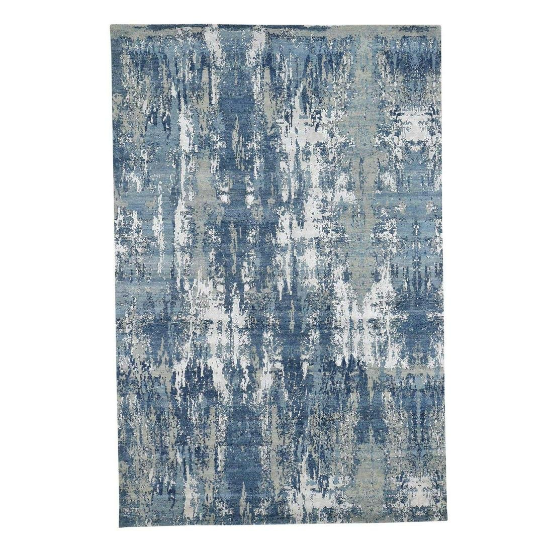Blue-Gray Abstract Design Wool and Pure Silk