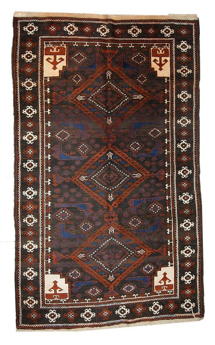 Hand made vintage Afghan Baluch rug 3.7' x 6.1' ( 117cm