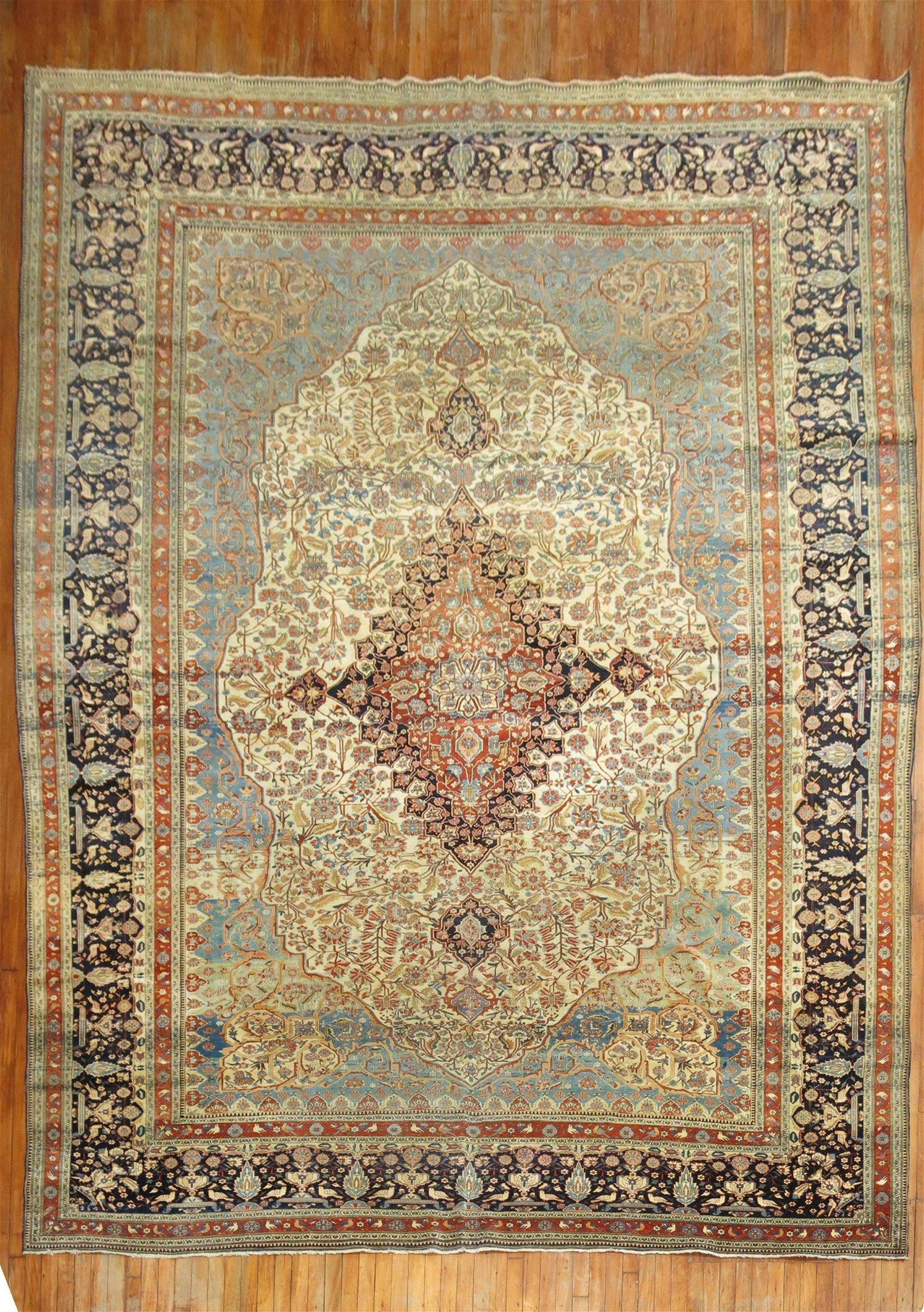19th Century Room Size Mohtasham Kashan Rug