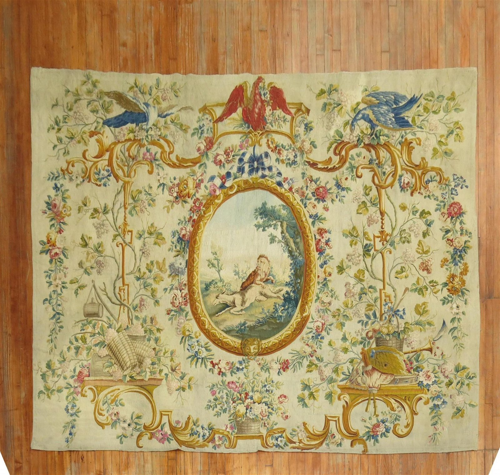 Silk and Wool 18th Century French Aubusson Tapestry