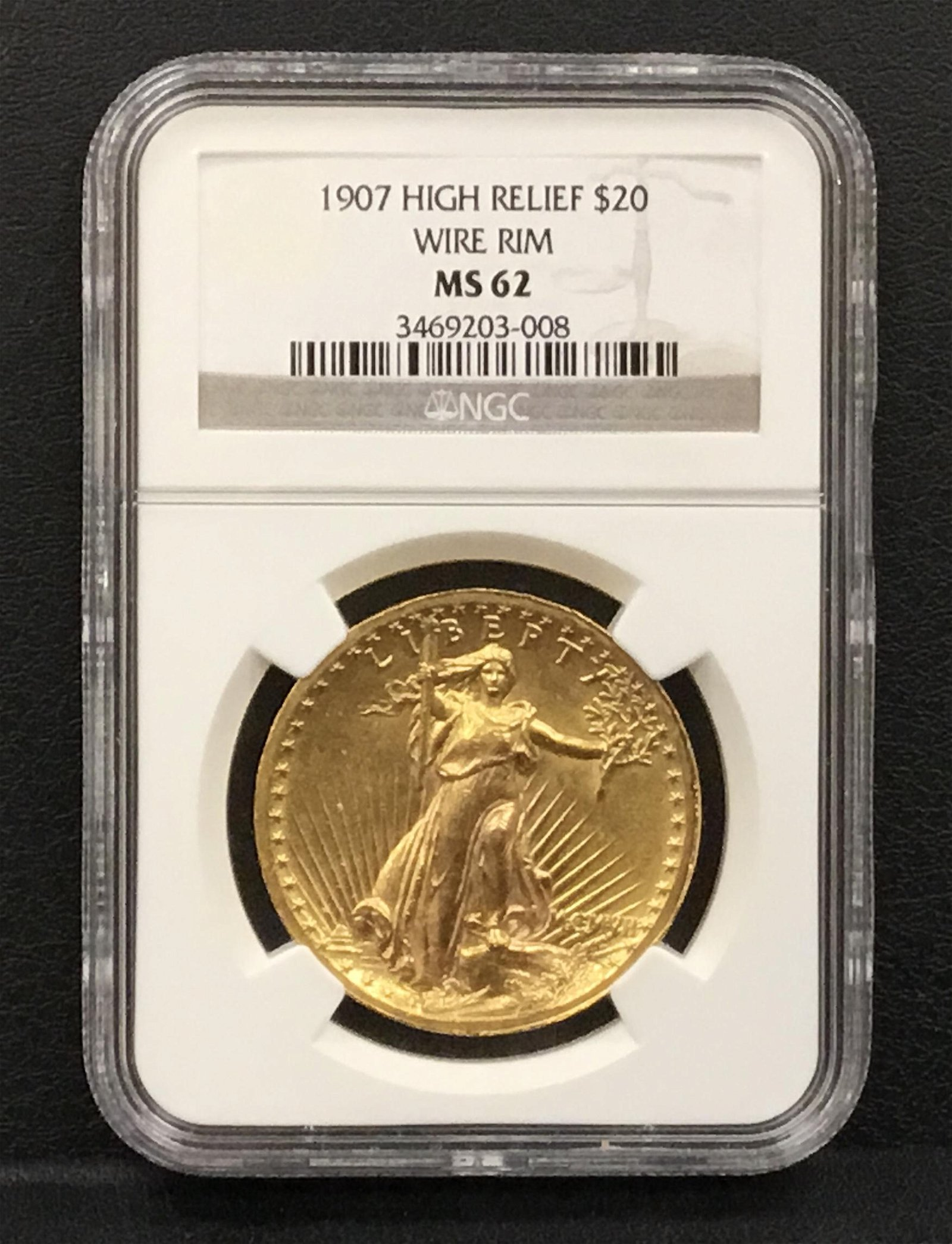 1907 High Relief $20 Gold Coin with Wire Rim