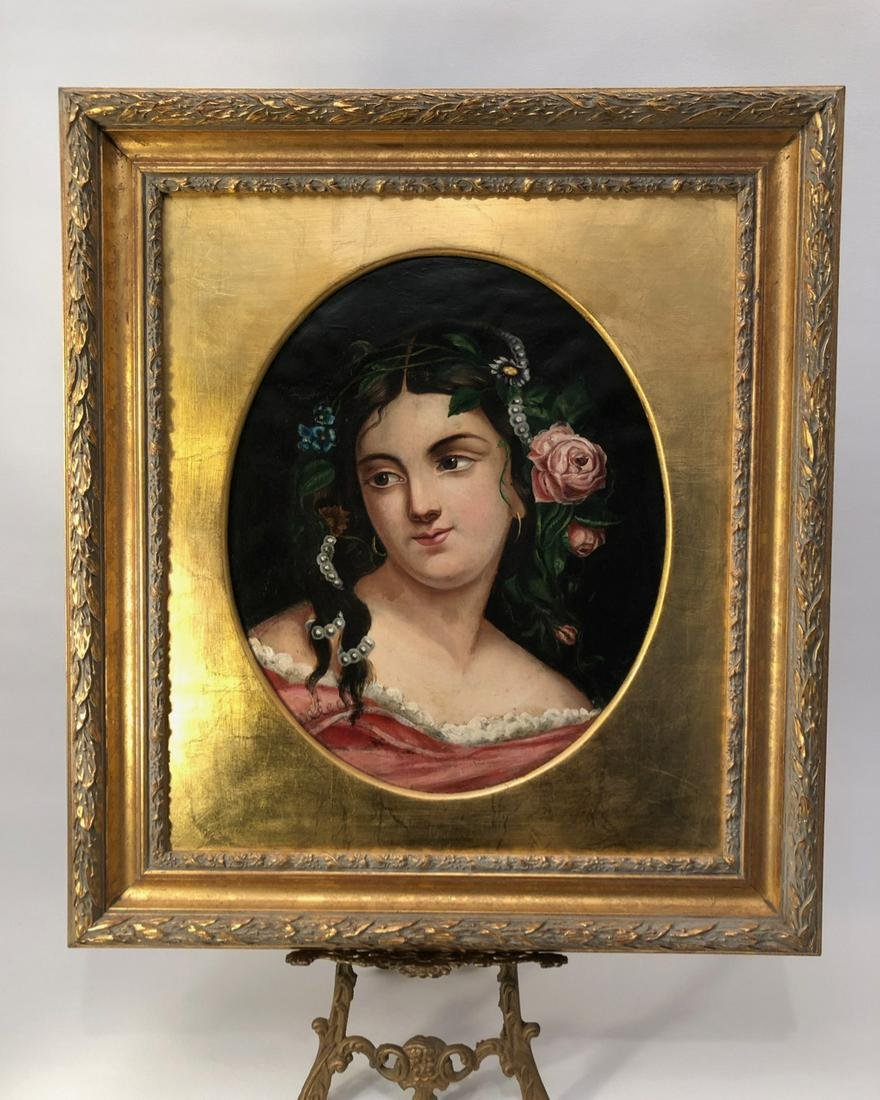Luxurious 19th C Portrait of young woman, oil on canvas