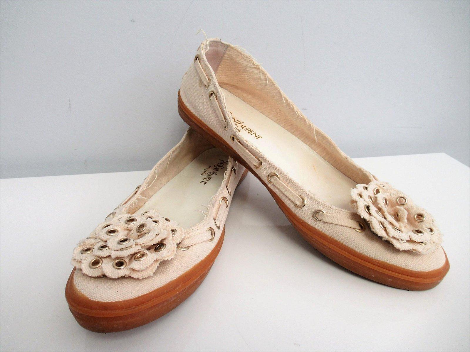 """""""YVES SAINT LAURENT"""" Canvas ballet shoes N. 39 EU"""