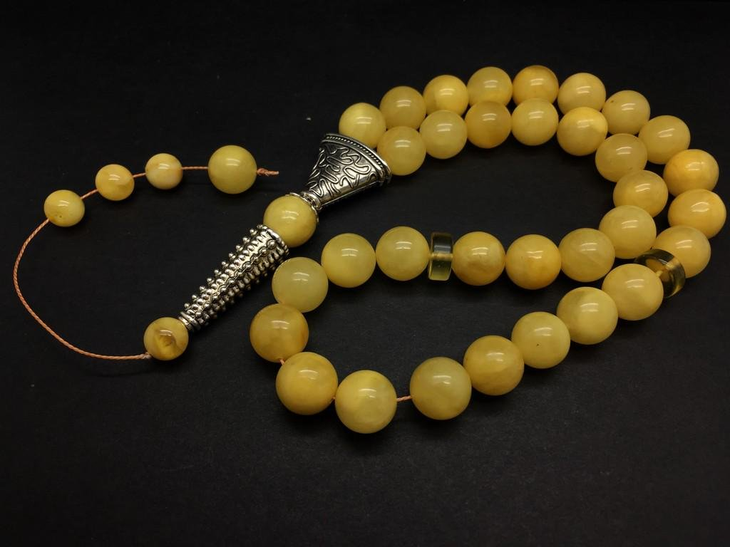Remarkable Unique Antique Amber Tesbih made from Round