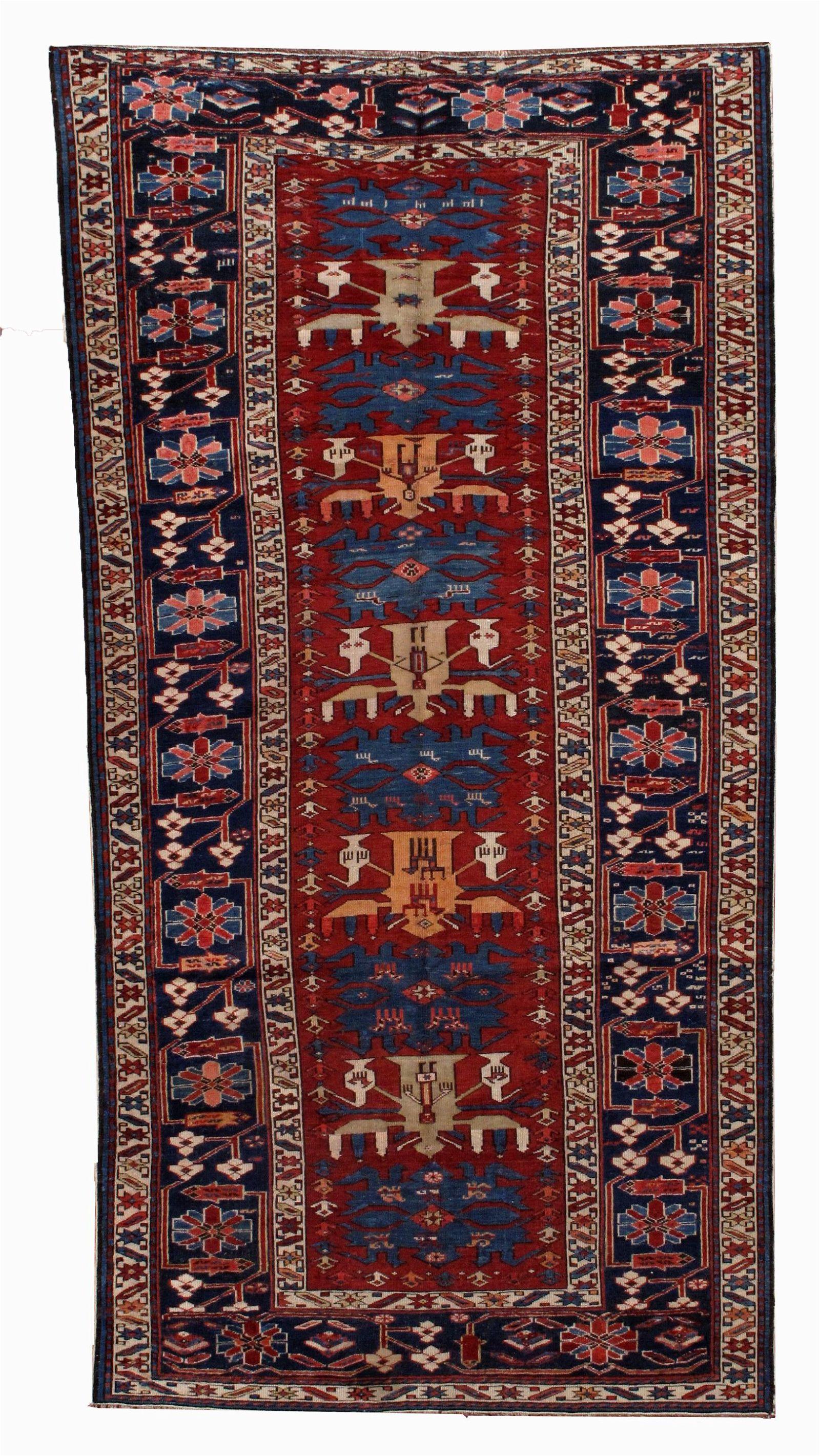 Handmade antique Caucasian Azerbaijani Shirvan rug 4.4'