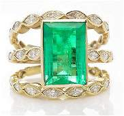 GIA 4.75ct Estate Vintage Colombian Green Emerald