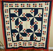 Red White  Blue 9Patch Pinwheel Antique Quilt Top