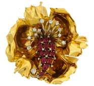 Ruby Diamond Yellow Gold Flower Pin BROOCH Clip French