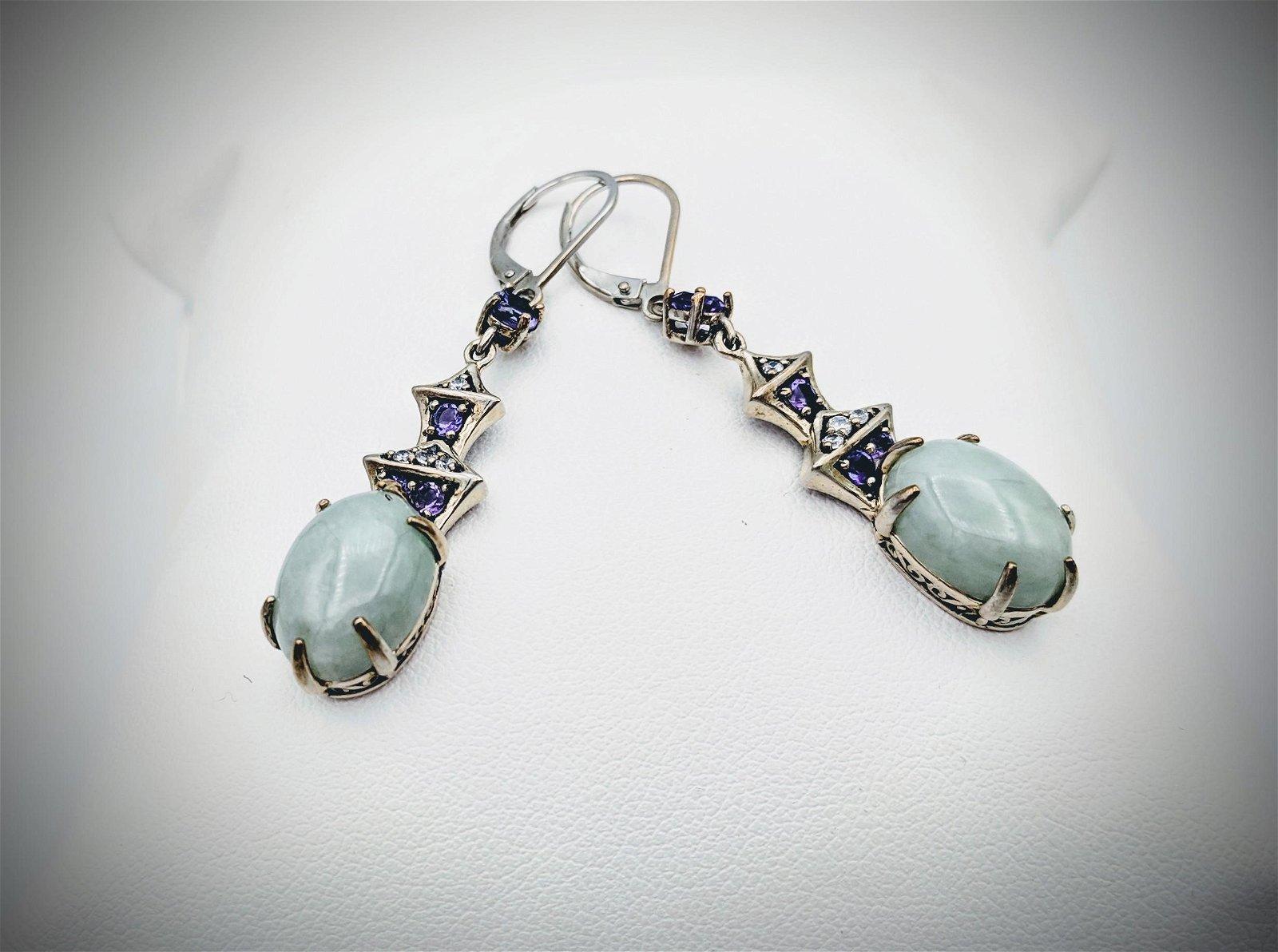925 SS Dangly Cocktail Earrings w Jade & Amethyst