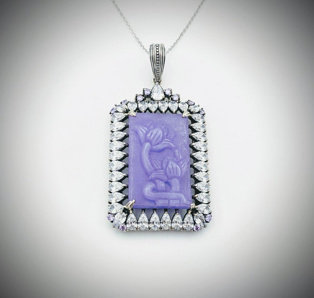 Necklace & Flower Engraved Violet Jade w Round Amethyst