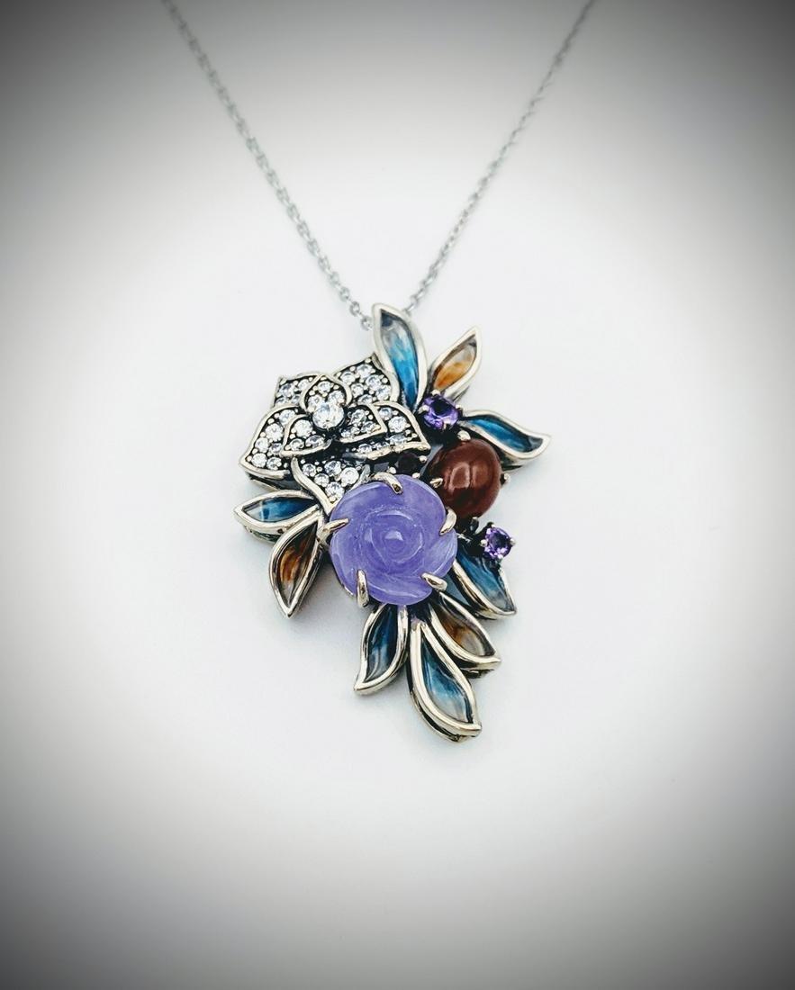 Necklace & Pendant w Carnelian, Violet Jade, Amethyst,