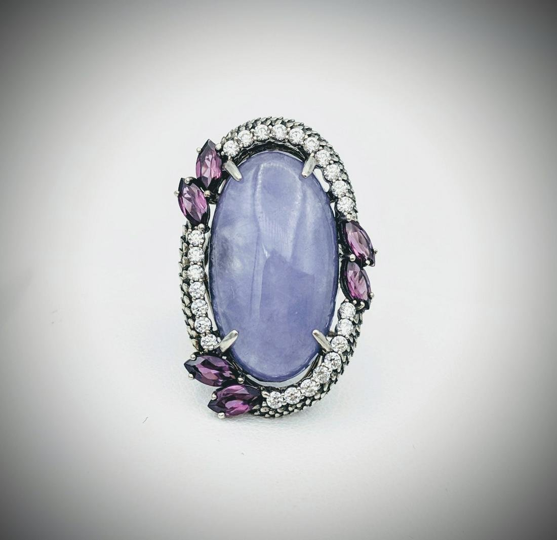 Sterling Silver Sz 7 Cocktail Ring w Violet Jade, Pink