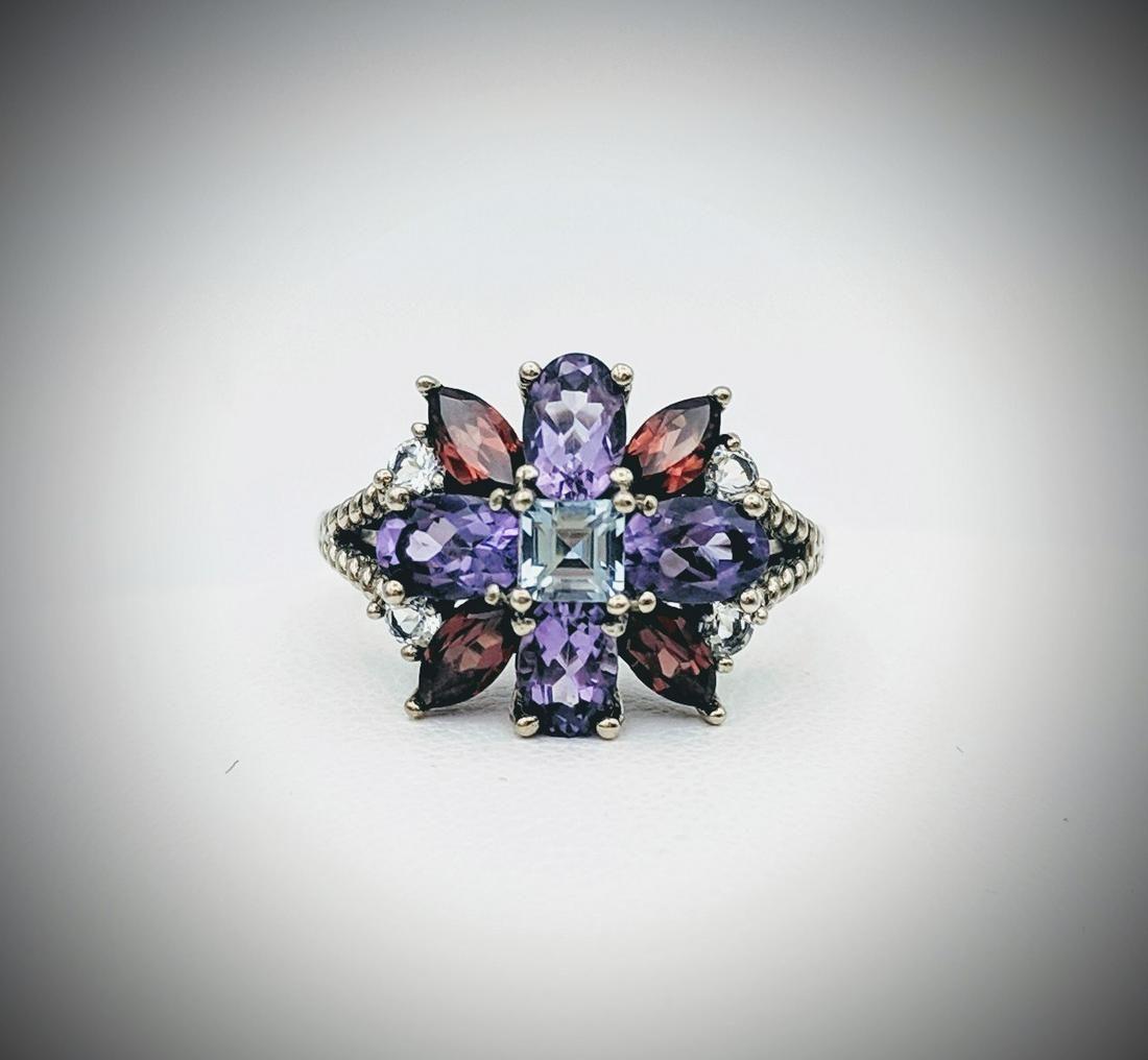 Sterling Silver Sz 7 Multicolored Gemstone Ring w Blue