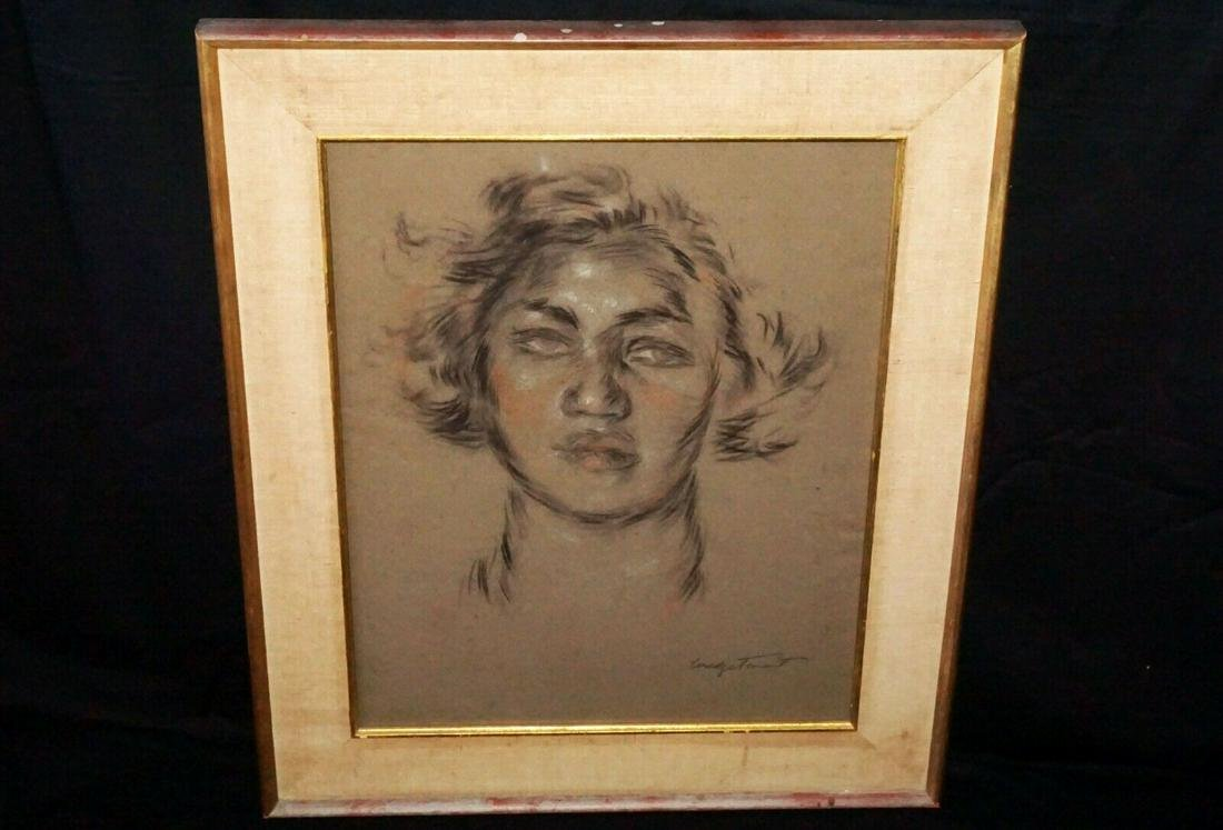 30s Hawaii Painting Bust of a Woman Madge Tennent