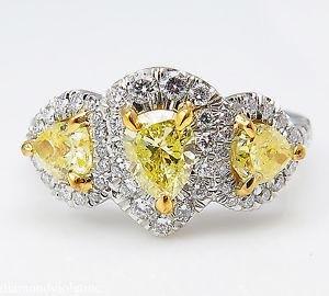 GIA 2.58ct Estate Vintage Yellow Pear Diamond Three