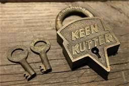 Brass Keen Kutter Padlock Lock & Key