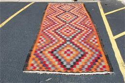 C 1910s ANTIQUE RARE SIZE CAUCASIAN KILIM 5x14.3 HIGH