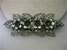 Vintage Edwardian Silver tone Brooch, floral with