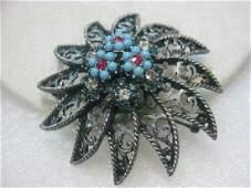 Vintage Silver Tone BSK Filigree Floral/Star Like