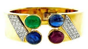 WOW David Webb 18k Yellow Gold, Diamond & Colored