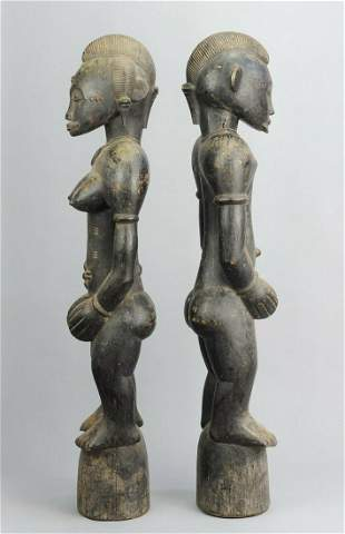 SENUFO Pair of large Pombilele or Deble figures Senoufo