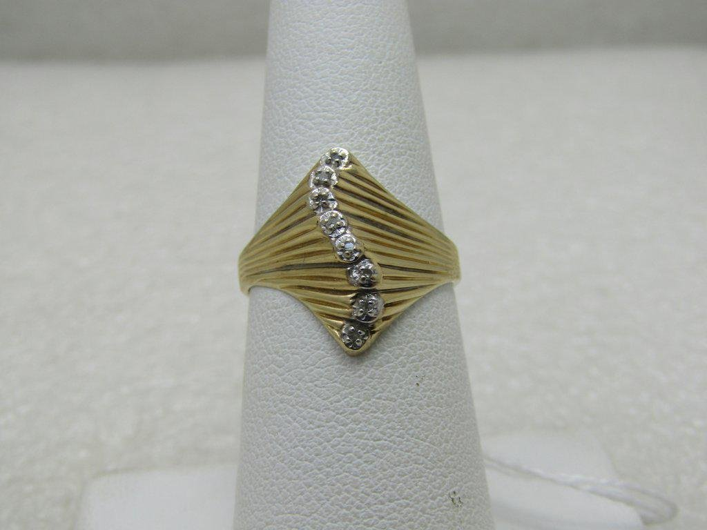 Vintage 10kt Diamond Art Deco Themed Ring, Sz. 6, Also