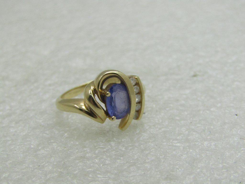 18kt Tanzanite Diamond ring, Sz. 5.5, Art Deco to Mod
