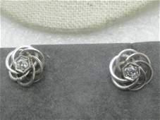 14kt White Gold Diamond Earrings, Spiral Studs, 2.60