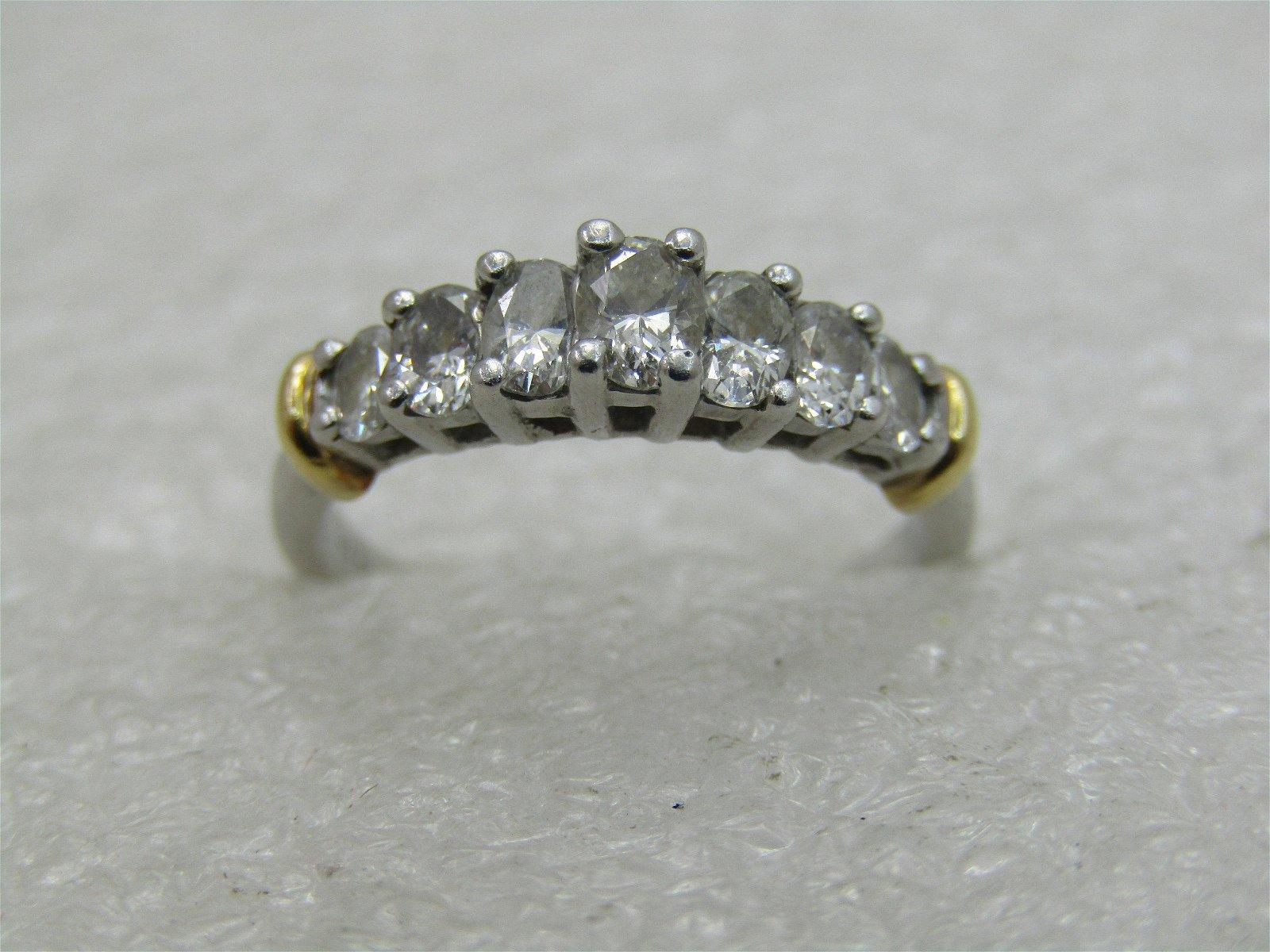 Vintage 14kt Platinum Diamond Ring, Tiered Engagement