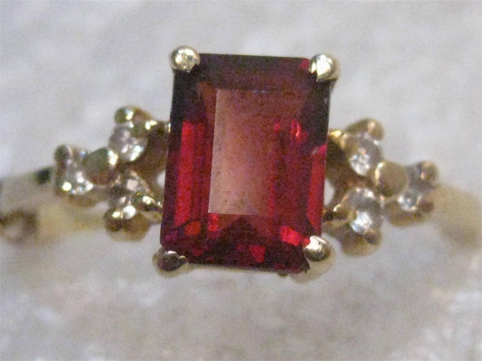 14kt Gold Garnet Diamond Ring, Emerald Cut, 1 ctw, Sz.
